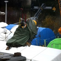 PICTURES: Helicopter wreck lifted from Glasgow crash site