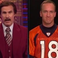 Ron Burgundy interviews Peyton Manning, calls the quarterback a 'succulent baby lamb'
