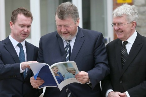 St James' Hospital CEO Brian Fitzgerald, Minister for Health James Reilly, and Chairman of St James' Hospital Prof Derry Shanley pictured at the report launch. (Left to Right)