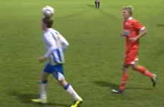 Brighton U21 balances ball on his head, then backheels it into opponent's face