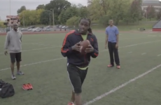 American Football star Jamaal Charles catches his own pass (or does he?)