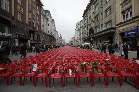 11,541 red chairs on a main street in Sarajevo last year to mark those who were killed during the Bosnian war.