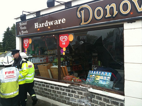 The damage to Donovan's shop in Moneygall, Co Offaly today after a truck carrying explosive parts crashed into it.
