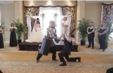 Couple battle medieval knights and ninjas in awesome wedding video