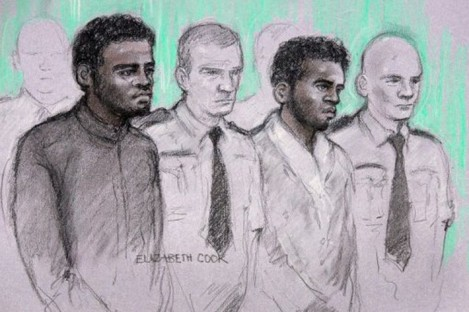 Sketch of the two men accused of the murder. Michael Adebolajo (left) and Michael Adebowale (right)
