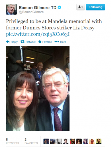 PIC: Has Eamon Gilmore just done a selfie in South Africa?