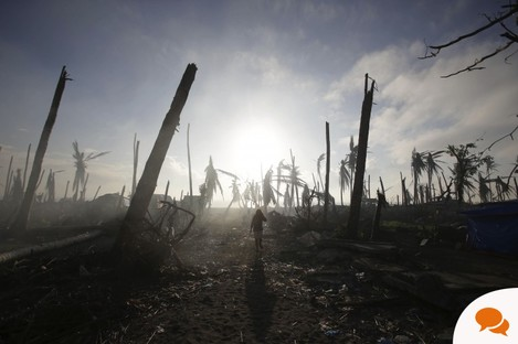 A typhoon survivor walks past damaged trees at typhoon-ravaged Tolosa town, Leyte province, central Philippines on Monday.