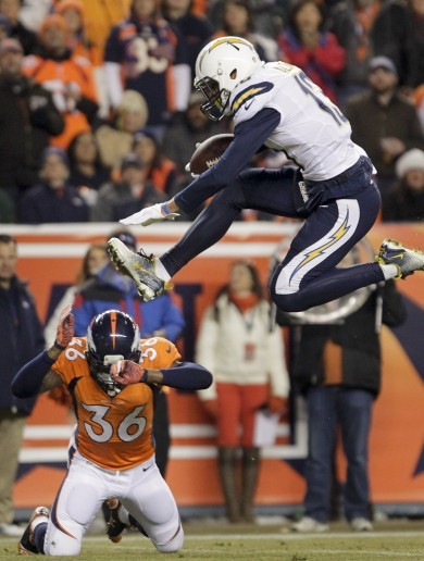 Keenan Allen hurdles over a defender's head to score touchdown
