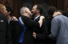 Same-sex 'kiss in' protest underway outside London pub