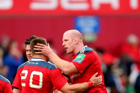 CJ Stander (dropped for this weekend's match) and Paul O'Connell celebrate at Thomond Park.