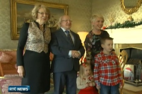Stephanie Meehan and her children meet President and Sabina Higgins