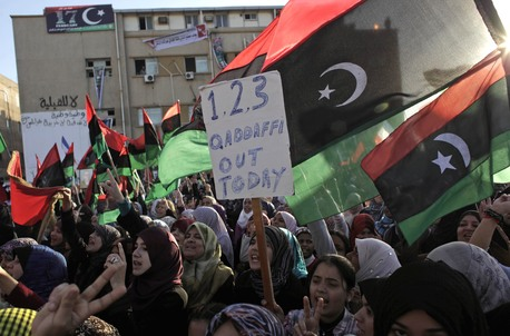 Anti-Gaddafi protests in the opposition held city of Benghazi earlier this week