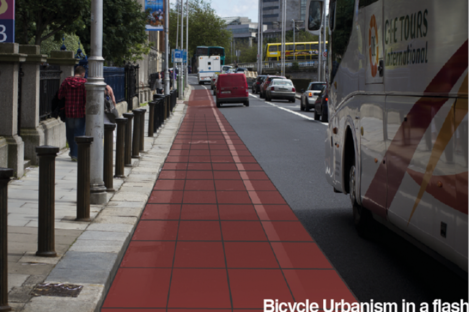 A temporary, elevated, track in Dublin as visualised by the Copenhagenize Flow people.