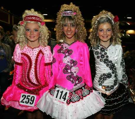 Three of the dancers competing at the 41st World Irish Dancing Championships 2011 today at the City West Hotel in Dublin.