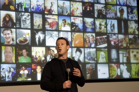 Facebook CEO Mark Zuckerberg speaking at the company's headquarters in Menlo Park, California.