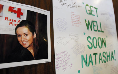 A get well soon card for Natasha McShane, pictured at a bar in Chicago last year where Natasha worked.