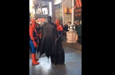 Batman got into a row in New York and two Spidermen calmed him down