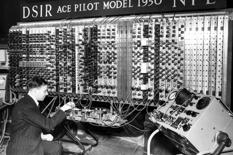 """A pilot model called """"Ace"""" (Automatic Computing Engine) with 40 plug-in chassis which carry the 800 valves, designed by mathmatician Alan Turing."""