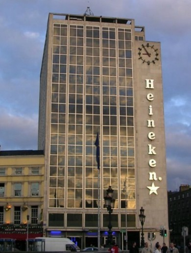 Firefighters to the rescue as the letter 'e' almost blows off Heineken building