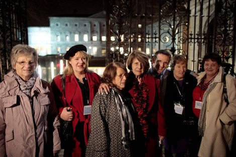 Marina Gambold, Maureen Sullivan, Mary McGuinness, Kathleen Janette, Steven O'Riordan, Geraldine Cronin and Julie McClure of Magdalene Survivors Together leaving Leinster House in Dublin after hearing Taoiseach Enda Kenny's state apology in Februrary.
