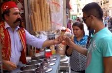 Ice cream vendor serves up some tricks with his cones
