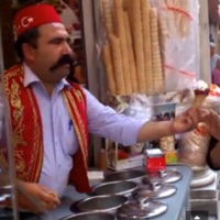 Ice cream vendor serves up some tricks with his cones