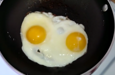 These eggs are talking in the pan!