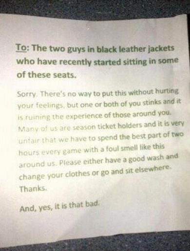 One poor Stockport fan was sent a letter claiming he 'stinks'