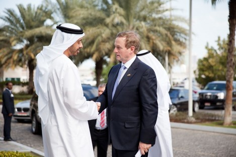 Taoiseach Enda Kenny shakes hands with Sheikh Abdullah bin Zayed al Nahyan, Minister for Foreign Affairs in Abu Dhabi.