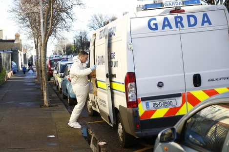 Forensic teams outside Cambridge Court today.