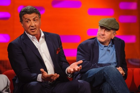 Sylvester Stallone and Robert De Niro during the filming of the Graham Norton Show on Thursday.