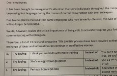 Memo encourages employees to stop effin' and blindin' at work
