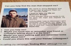 Man who attempted suicide launches viral campaign to find stranger who gave him hope