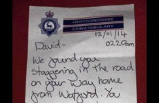 Police leave loving note for drunken man they brought home