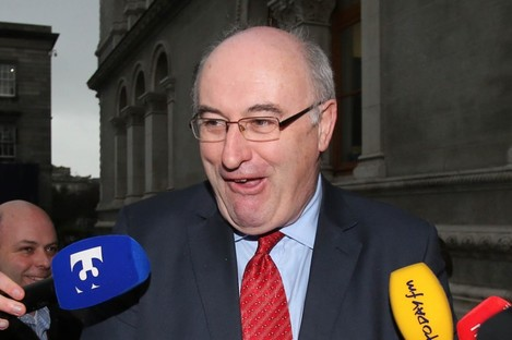 Environment minister Phil Hogan speaking to the media about the Irish Water controversy this week.