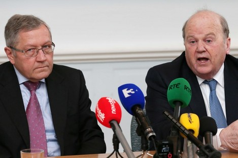 Klaus Regling and Michael Noonan at the Department of Finance today.