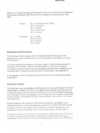 Here are the minutes of the CRC board meeting where Paul Kiely's €742k pay-off was agreed