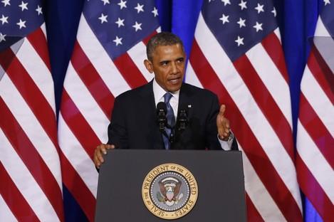 US President Barack Obama speaking in Washington today.