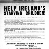 American campaign to help 'starving, cold, barefooted children' of Ireland