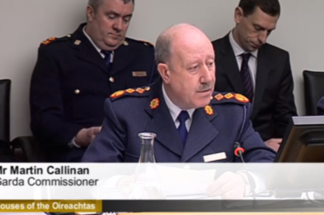 Garda Commissioner Martin Callinan before the PAC this morning