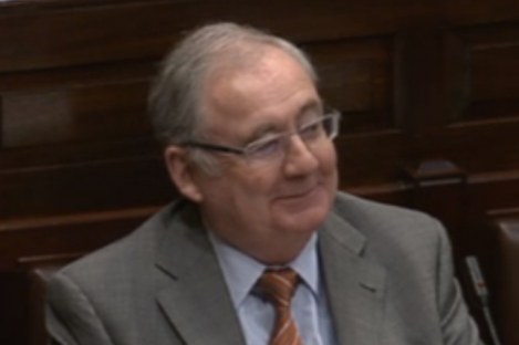 Pat Rabbitte looking mischievous in the Dáil this morning.