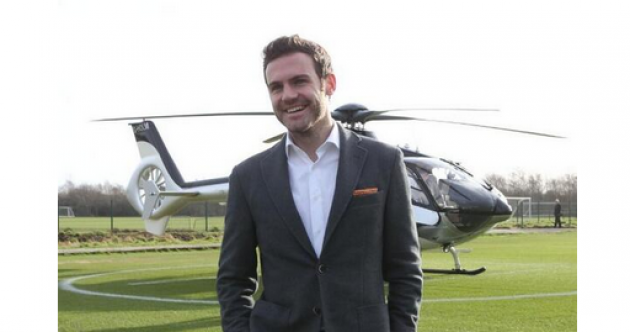 Snapshot: Juan Mata arrives in Manchester in style