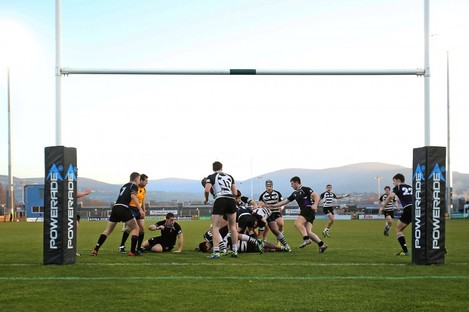 Students from Cistercian College Roscrea and Terenure College compete at Tallaght Stadium in 2013.