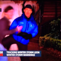 Weatherman gets attacked during live report, knees the guy in the balls