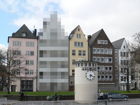 An image of how a Google Street View photo might look with one house blocked out.
