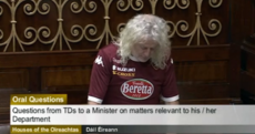 Snapshot: Mick Wallace wore the latest Torino soccer jersey in the Dáil this morning