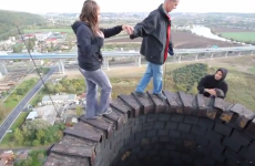 Well this is certainly an extreme way to cure a fear of heights...
