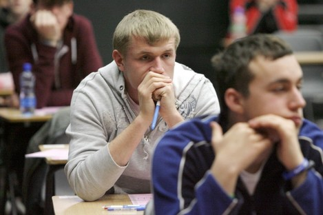 Students at Belvedere College sitting their Leaving Cert.
