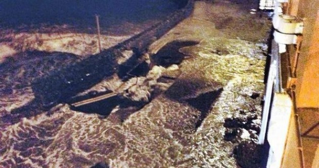 Flooding has collapsed a road in Kinsale