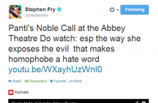 Stephen Fry joins Panti's supporters by tweeting video to 6.5 million followers
